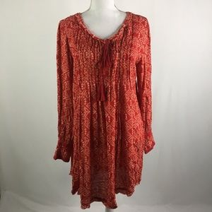 Free People Tunic Dress Long Sleeve Red Raw Edges